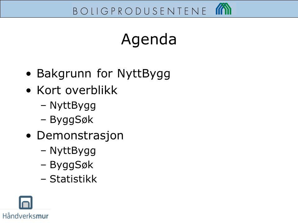 Agenda Bakgrunn for NyttBygg Kort overblikk –NyttBygg –ByggSøk Demonstrasjon –NyttBygg –ByggSøk –Statistikk