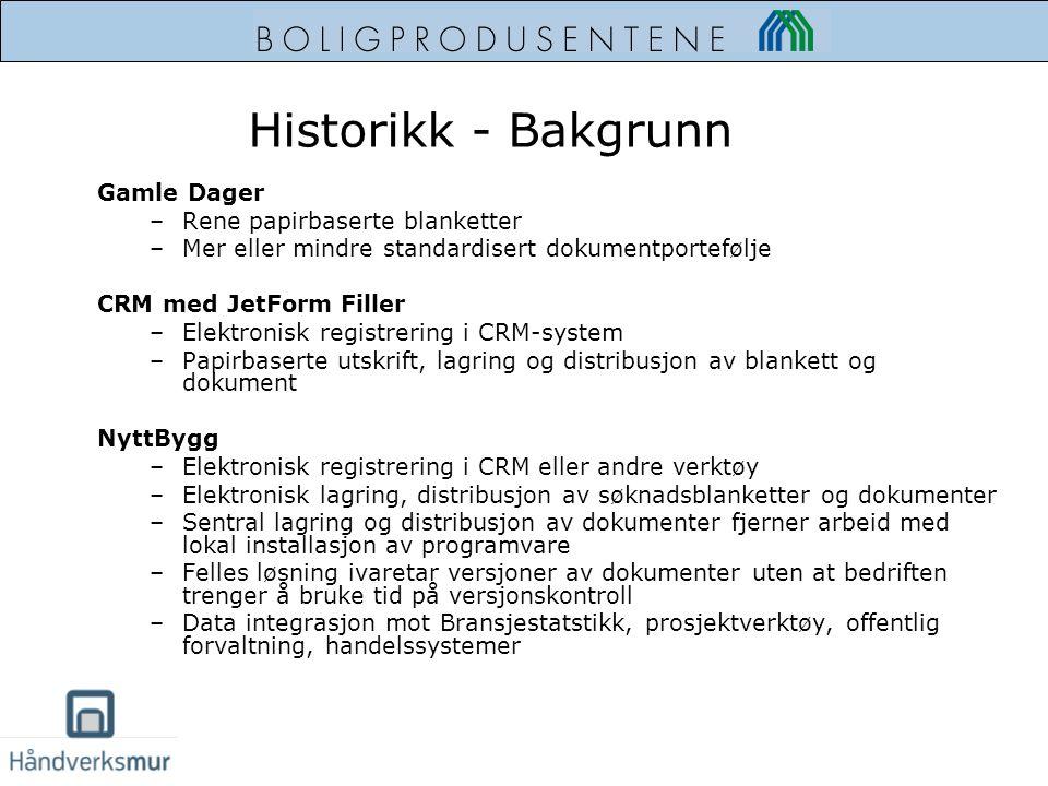 Historikk - Bakgrunn Gamle Dager –Rene papirbaserte blanketter –Mer eller mindre standardisert dokumentportefølje CRM med JetForm Filler –Elektronisk