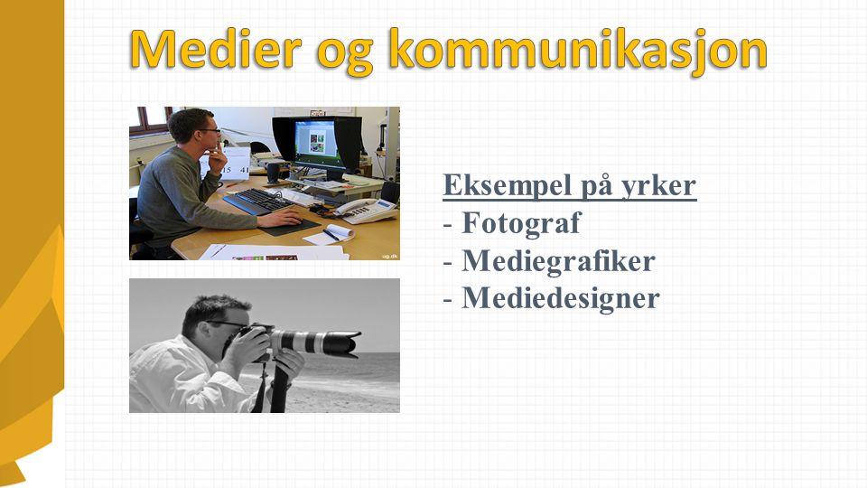 Eksempel på yrker - Fotograf - Mediegrafiker - Mediedesigner