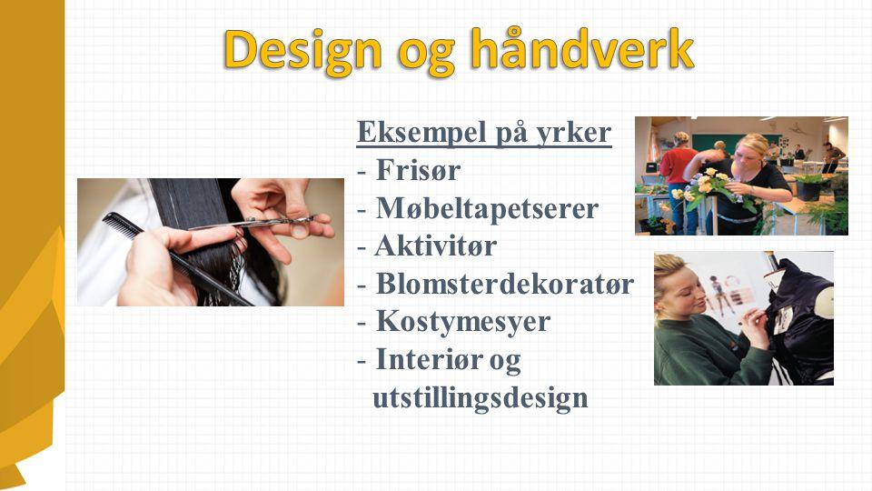 Eksempel på yrker - Frisør - Møbeltapetserer - Aktivitør - Blomsterdekoratør - Kostymesyer - Interiør og utstillingsdesign
