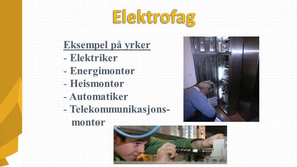 Eksempel på yrker - Elektriker - Energimontør - Heismontør - Automatiker - Telekommunikasjons- montør