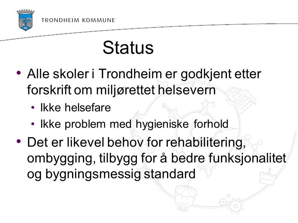 Status Alle skoler i Trondheim er godkjent etter forskrift om miljørettet helsevern Ikke helsefare Ikke problem med hygieniske forhold Det er likevel