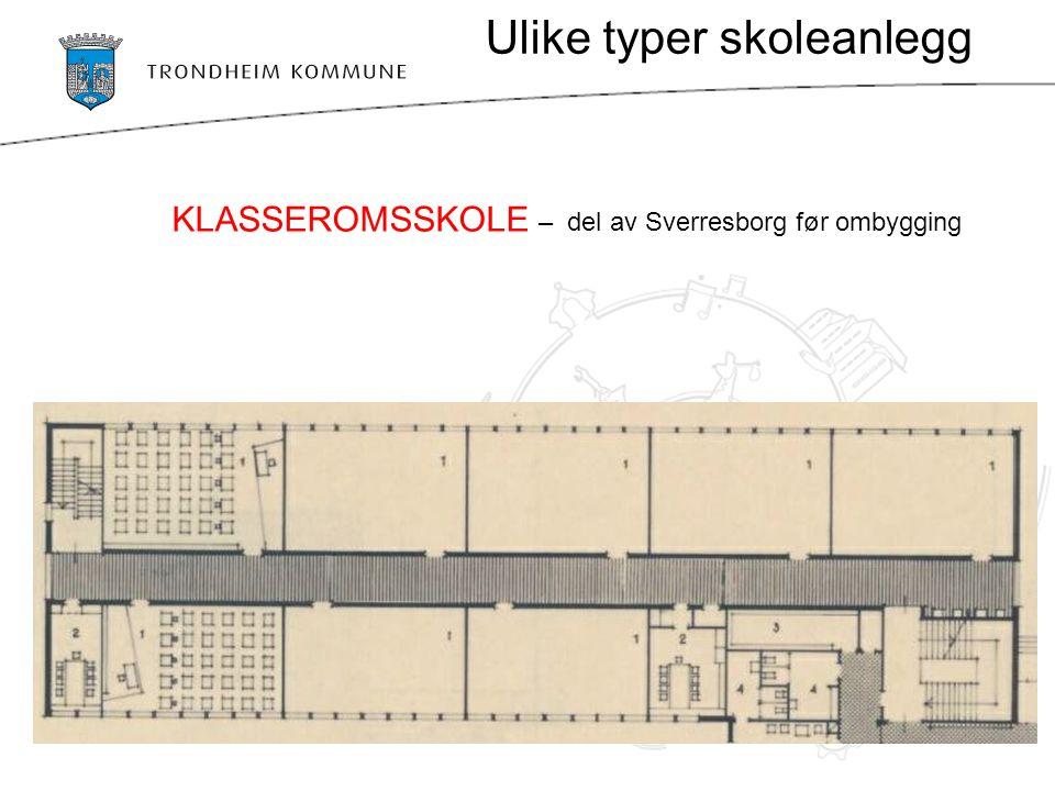 Ulike typer skoleanlegg KLASSEROMSSKOLE – del av Sverresborg før ombygging