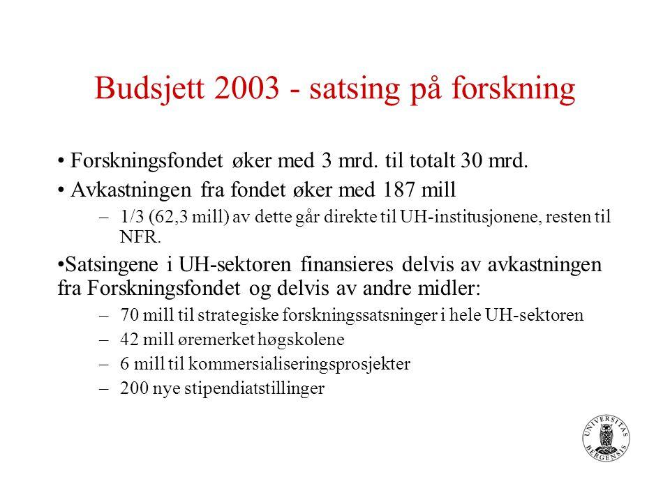 Budsjett 2003 - satsing på forskning Forskningsfondet øker med 3 mrd.