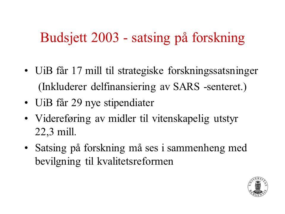 Budsjett 2003 - satsing på forskning UiB får 17 mill til strategiske forskningssatsninger (Inkluderer delfinansiering av SARS -senteret.) UiB får 29 nye stipendiater Videreføring av midler til vitenskapelig utstyr 22,3 mill.
