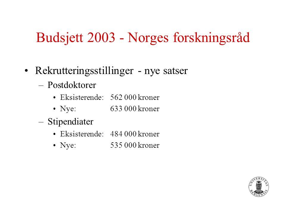 Budsjett 2003 - Norges forskningsråd Rekrutteringsstillinger - nye satser –Postdoktorer Eksisterende: 562 000 kroner Nye:633 000 kroner –Stipendiater