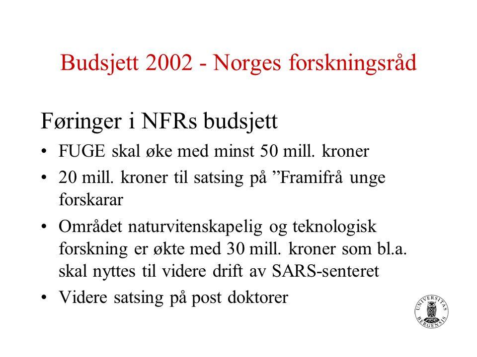 """Budsjett 2002 - Norges forskningsråd Føringer i NFRs budsjett FUGE skal øke med minst 50 mill. kroner 20 mill. kroner til satsing på """"Framifrå unge fo"""