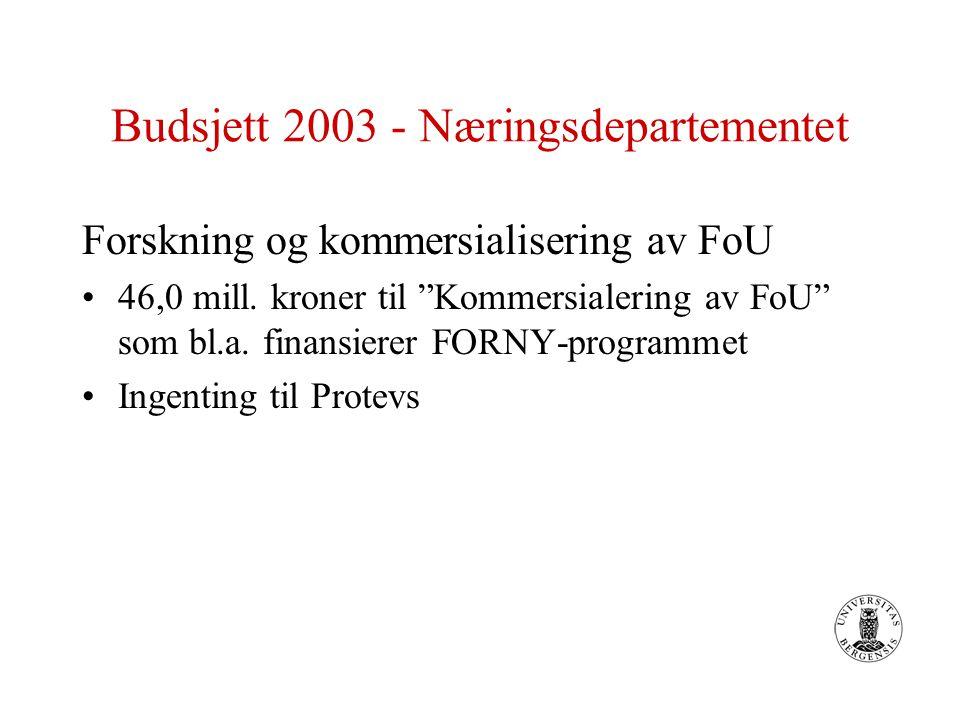 """Budsjett 2003 - Næringsdepartementet Forskning og kommersialisering av FoU 46,0 mill. kroner til """"Kommersialering av FoU"""" som bl.a. finansierer FORNY-"""