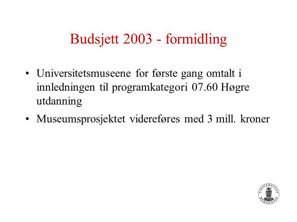 Budsjett 2003 - formidling Universitetsmuseene for første gang omtalt i innledningen til programkategori 07.60 Høgre utdanning Museumsprosjektet videreføres med 3 mill.