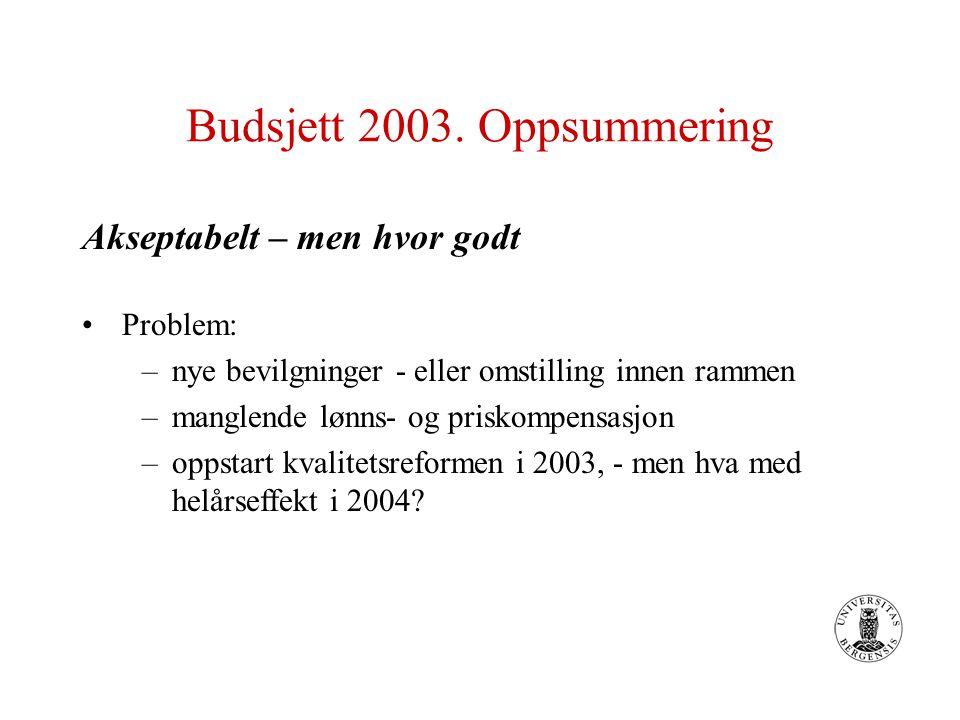 Budsjett 2003. Oppsummering Akseptabelt – men hvor godt Problem: –nye bevilgninger - eller omstilling innen rammen –manglende lønns- og priskompensasj