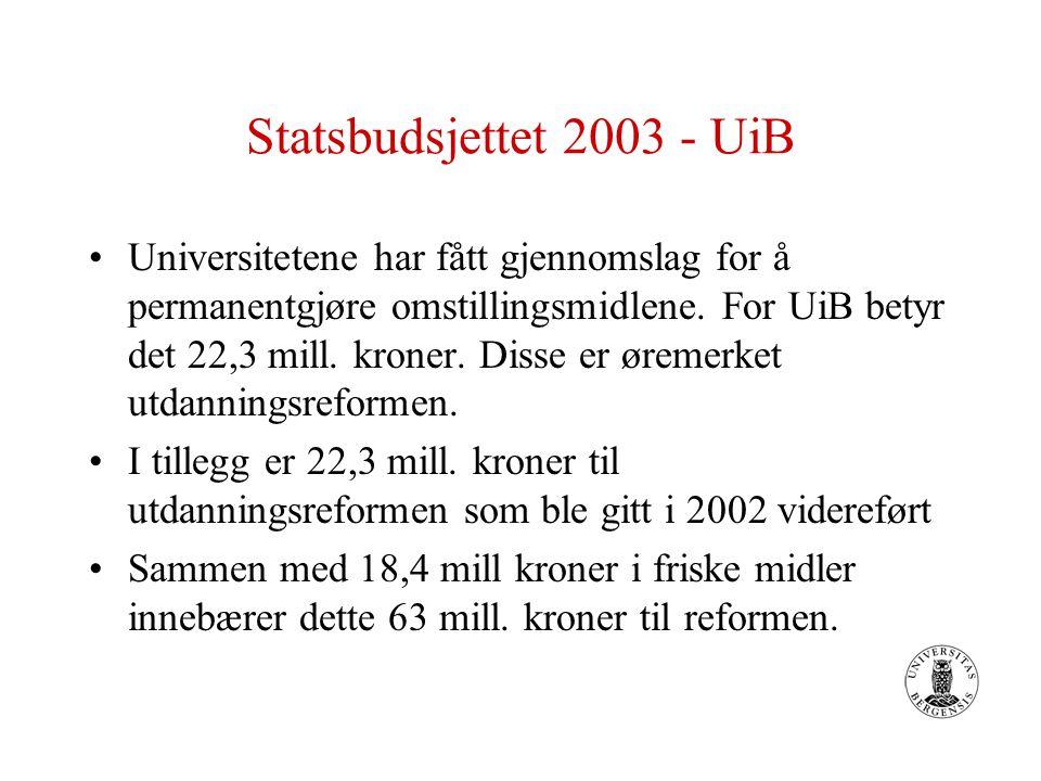 Statsbudsjettet 2003 - UiB Universitetene har fått gjennomslag for å permanentgjøre omstillingsmidlene. For UiB betyr det 22,3 mill. kroner. Disse er