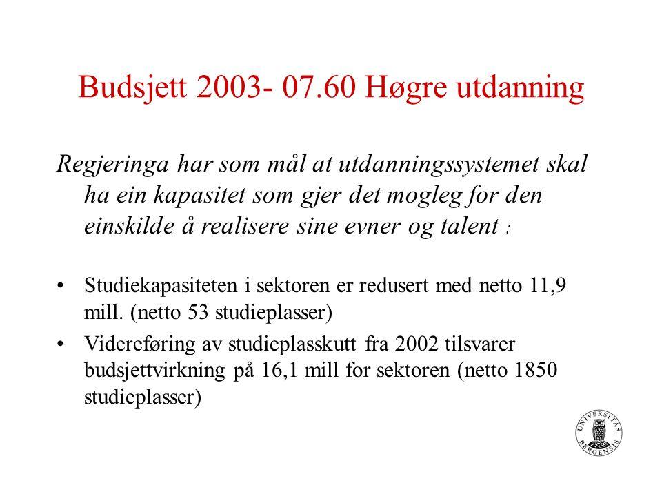 Budsjett 2003- 07.60 Høgre utdanning Regjeringa har som mål at utdanningssystemet skal ha ein kapasitet som gjer det mogleg for den einskilde å realisere sine evner og talent : Studiekapasiteten i sektoren er redusert med netto 11,9 mill.