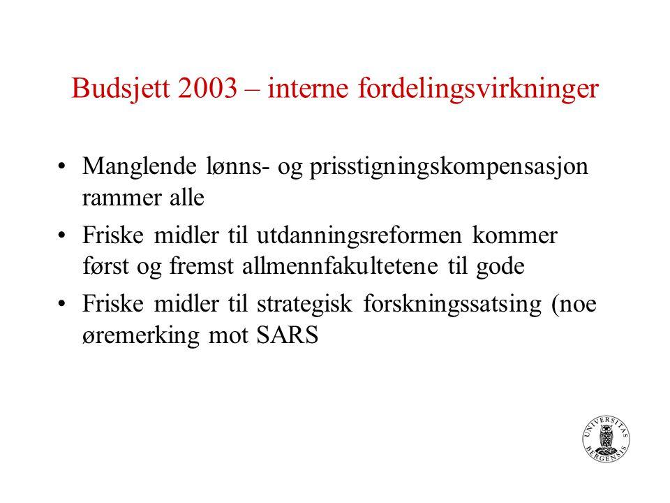 Budsjett 2003 – interne fordelingsvirkninger Manglende lønns- og prisstigningskompensasjon rammer alle Friske midler til utdanningsreformen kommer først og fremst allmennfakultetene til gode Friske midler til strategisk forskningssatsing (noe øremerking mot SARS