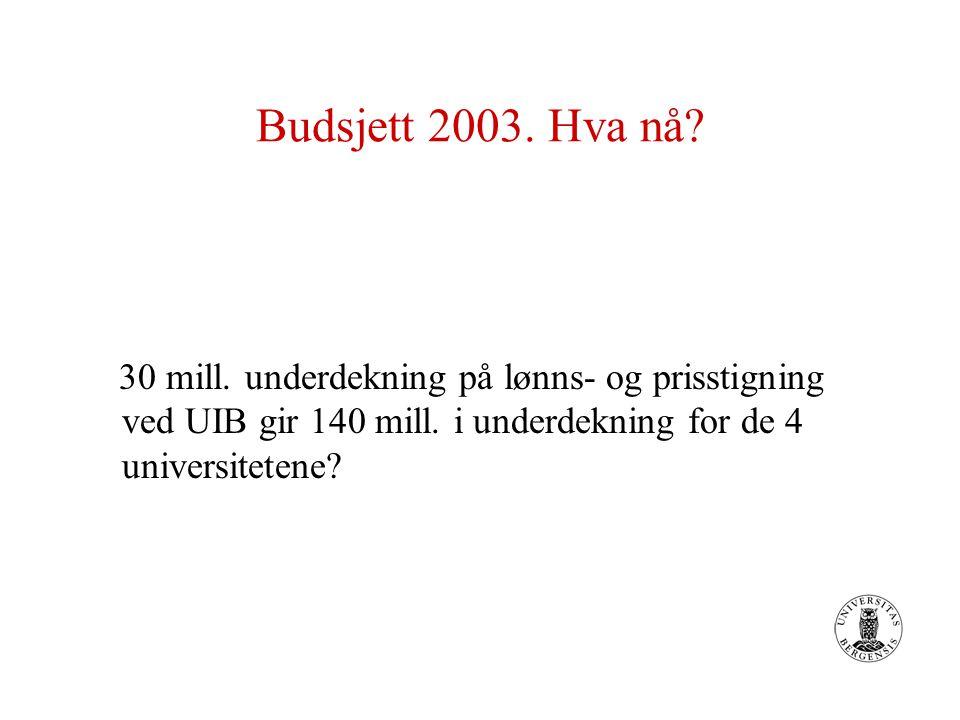 Budsjett 2003. Hva nå? 30 mill. underdekning på lønns- og prisstigning ved UIB gir 140 mill. i underdekning for de 4 universitetene?