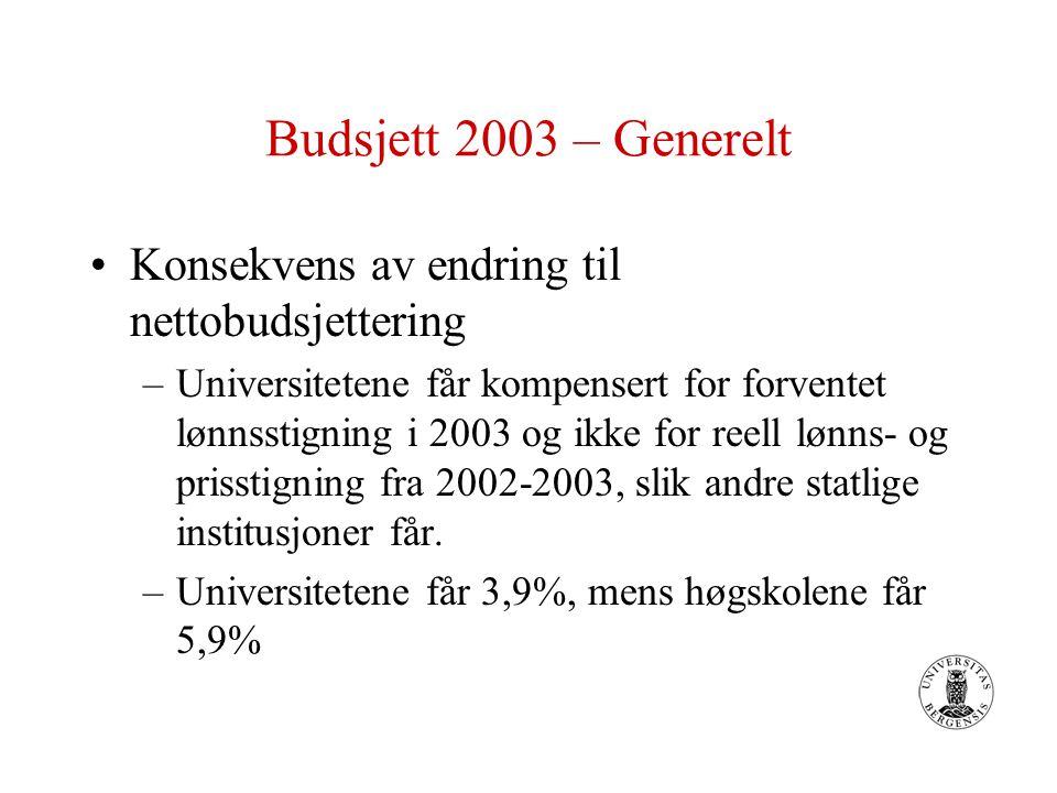 Budsjett 2003 – Generelt Konsekvens av endring til nettobudsjettering –Universitetene får kompensert for forventet lønnsstigning i 2003 og ikke for reell lønns- og prisstigning fra 2002-2003, slik andre statlige institusjoner får.