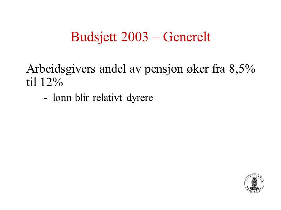 Budsjett 2003 – Generelt Arbeidsgivers andel av pensjon øker fra 8,5% til 12% -lønn blir relativt dyrere