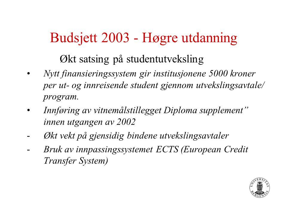 Budsjett 2003 - Høgre utdanning Økt satsing på studentutveksling Nytt finansieringssystem gir institusjonene 5000 kroner per ut- og innreisende student gjennom utvekslingsavtale/ program.