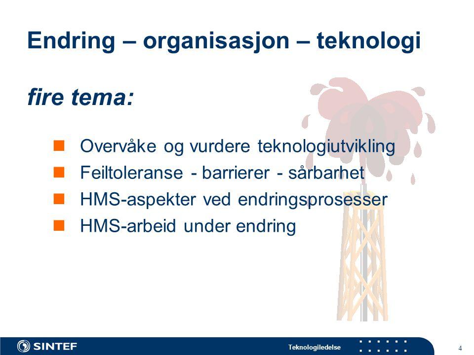 Teknologiledelse 4 Endring – organisasjon – teknologi fire tema: Overvåke og vurdere teknologiutvikling Feiltoleranse - barrierer - sårbarhet HMS-aspekter ved endringsprosesser HMS-arbeid under endring