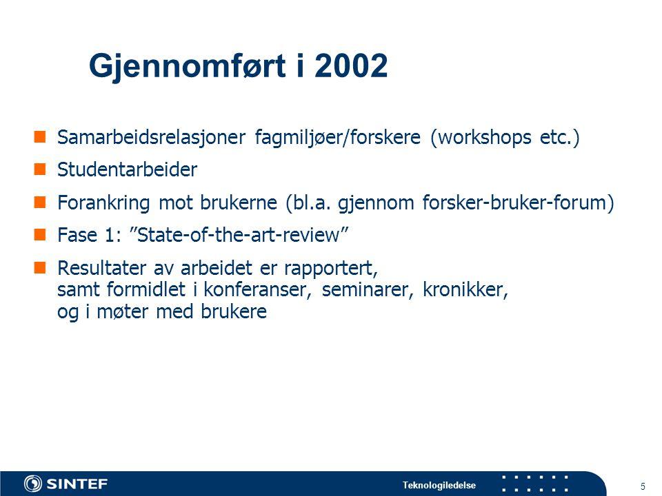 Teknologiledelse 5 Gjennomført i 2002 Samarbeidsrelasjoner fagmiljøer/forskere (workshops etc.) Studentarbeider Forankring mot brukerne (bl.a.