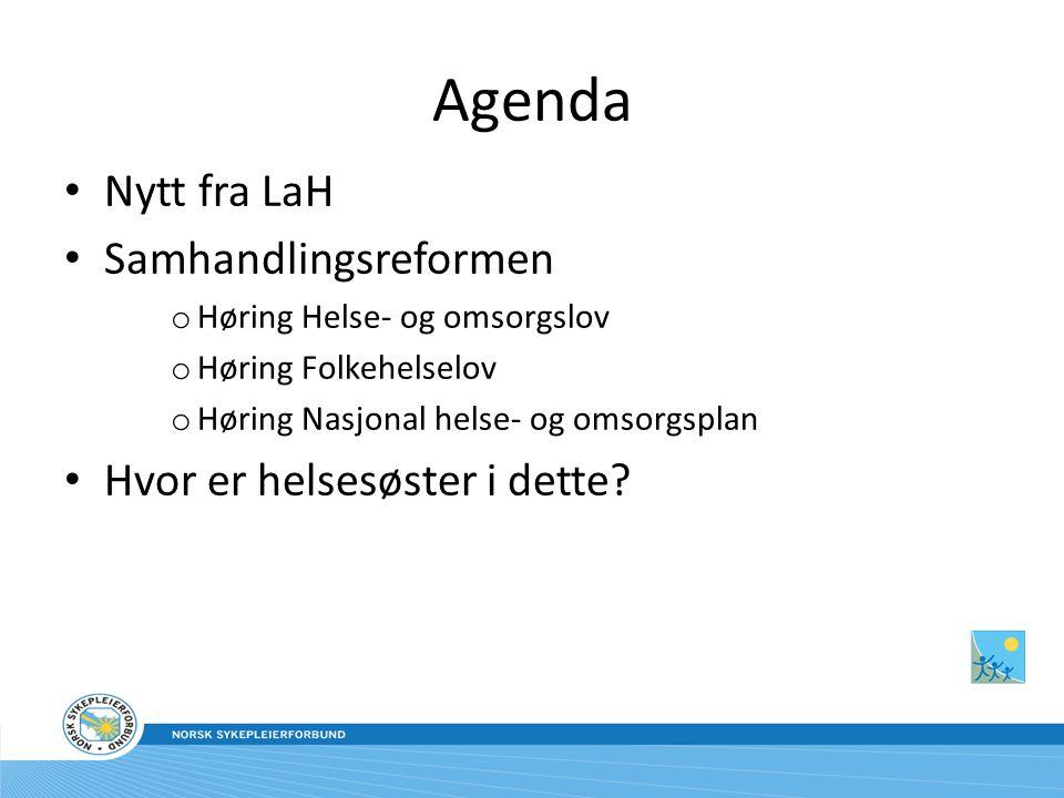 Agenda Nytt fra LaH Samhandlingsreformen o Høring Helse- og omsorgslov o Høring Folkehelselov o Høring Nasjonal helse- og omsorgsplan Hvor er helsesøster i dette