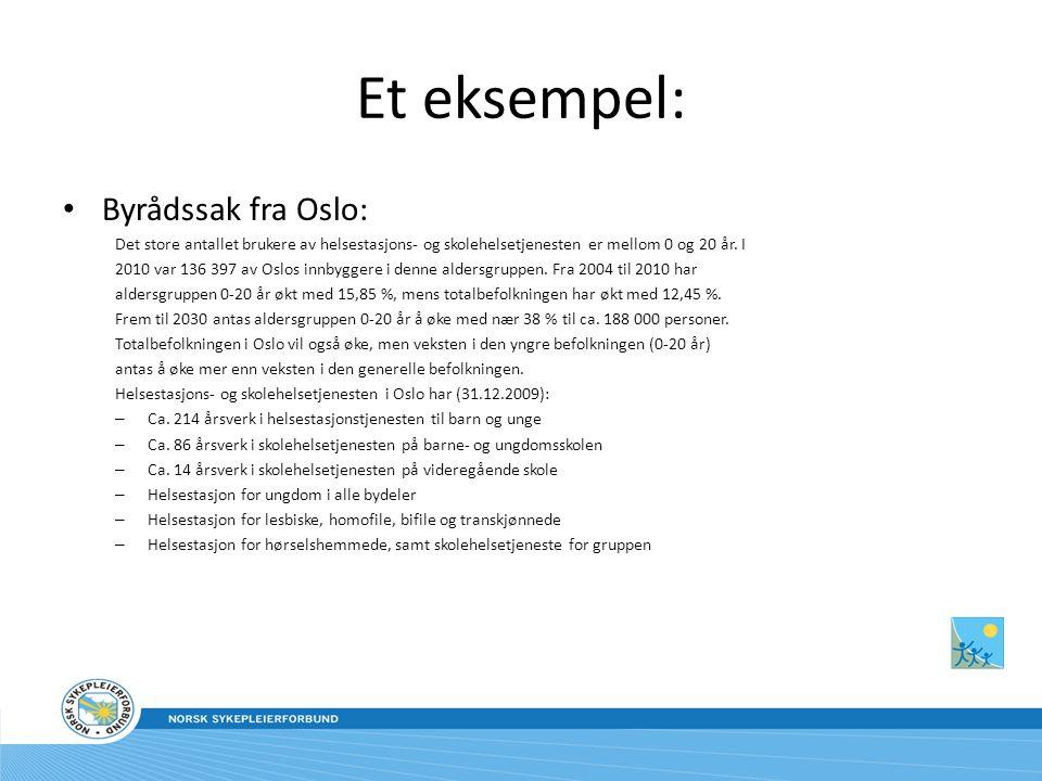 Et eksempel: Byrådssak fra Oslo: Det store antallet brukere av helsestasjons- og skolehelsetjenesten er mellom 0 og 20 år.