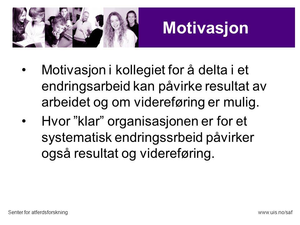 Motivasjon i kollegiet for å delta i et endringsarbeid kan påvirke resultat av arbeidet og om videreføring er mulig.