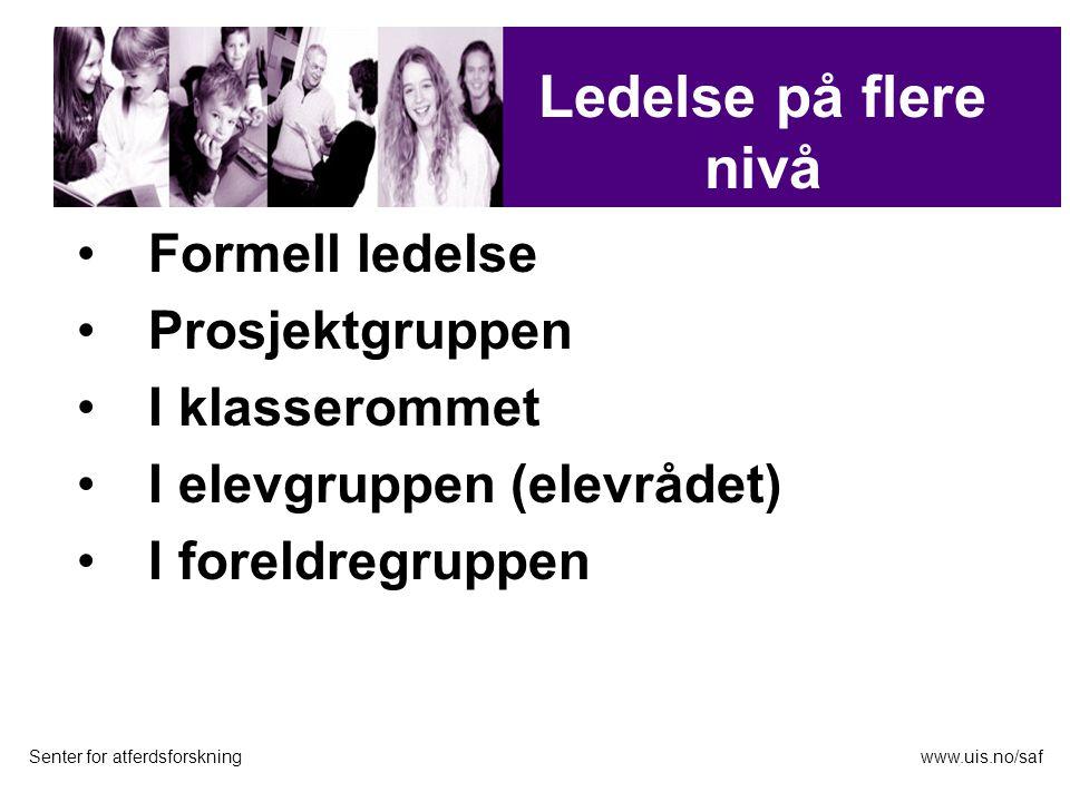 Formell ledelse Prosjektgruppen I klasserommet I elevgruppen (elevrådet) I foreldregruppen Senter for atferdsforskningwww.uis.no/saf Evaluering Ledels