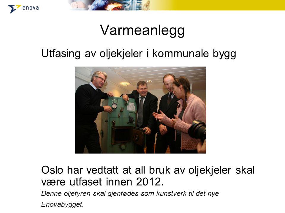 Varmeanlegg Utfasing av oljekjeler i kommunale bygg Oslo har vedtatt at all bruk av oljekjeler skal være utfaset innen 2012.
