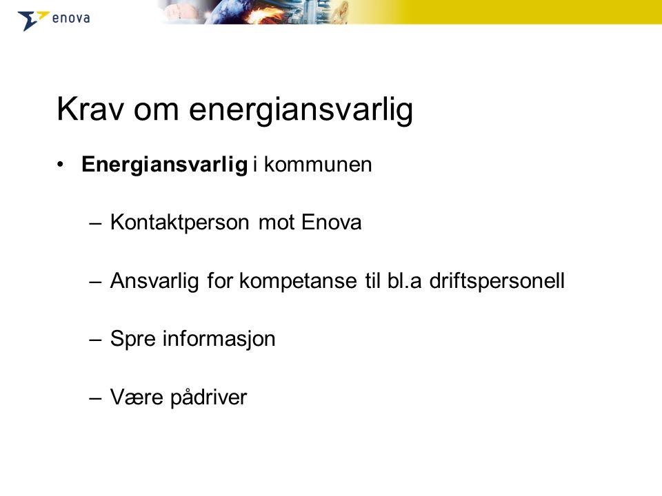 Krav om energiansvarlig Energiansvarlig i kommunen –Kontaktperson mot Enova –Ansvarlig for kompetanse til bl.a driftspersonell –Spre informasjon –Være pådriver