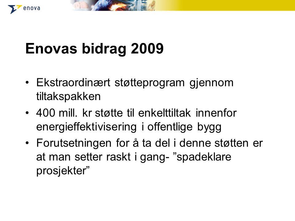 Enovas bidrag 2009 Ekstraordinært støtteprogram gjennom tiltakspakken 400 mill.