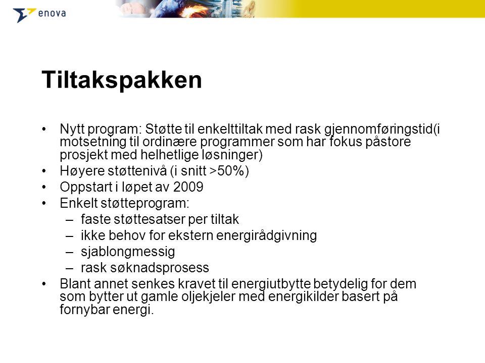 Tiltakspakken Nytt program: Støtte til enkelttiltak med rask gjennomføringstid(i motsetning til ordinære programmer som har fokus påstore prosjekt med helhetlige løsninger) Høyere støttenivå (i snitt >50%) Oppstart i løpet av 2009 Enkelt støtteprogram: –faste støttesatser per tiltak –ikke behov for ekstern energirådgivning –sjablongmessig –rask søknadsprosess Blant annet senkes kravet til energiutbytte betydelig for dem som bytter ut gamle oljekjeler med energikilder basert på fornybar energi.