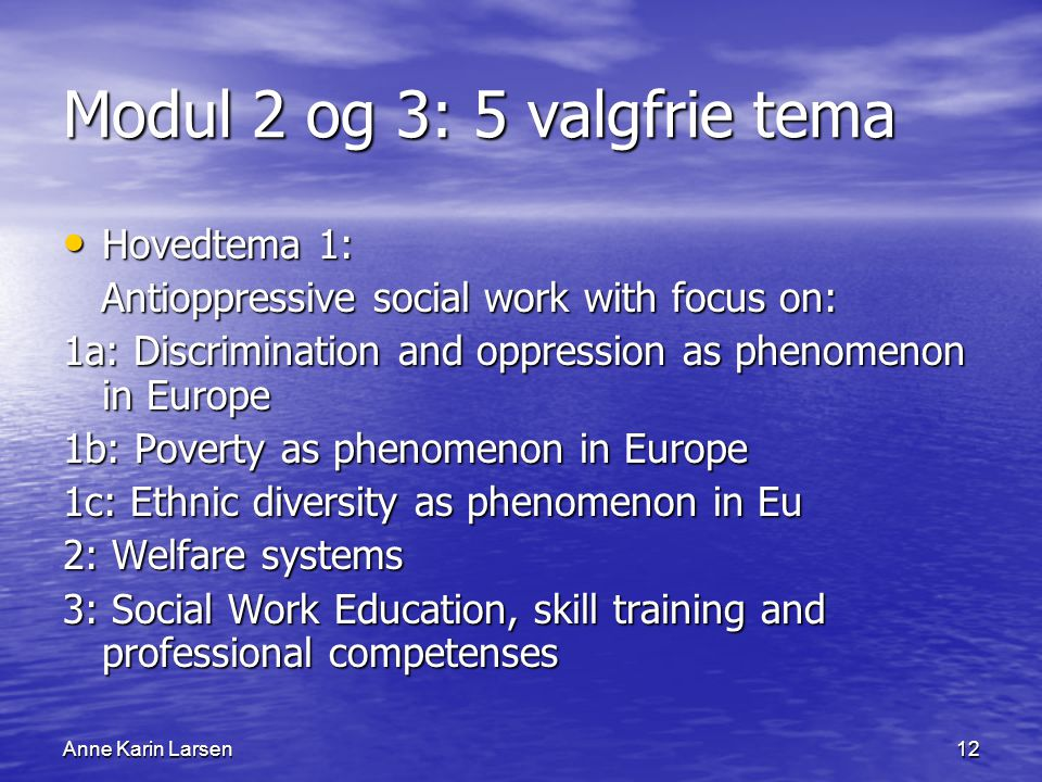 Anne Karin Larsen12 Modul 2 og 3: 5 valgfrie tema Hovedtema 1: Hovedtema 1: Antioppressive social work with focus on: Antioppressive social work with focus on: 1a: Discrimination and oppression as phenomenon in Europe 1b: Poverty as phenomenon in Europe 1c: Ethnic diversity as phenomenon in Eu 2: Welfare systems 3: Social Work Education, skill training and professional competenses