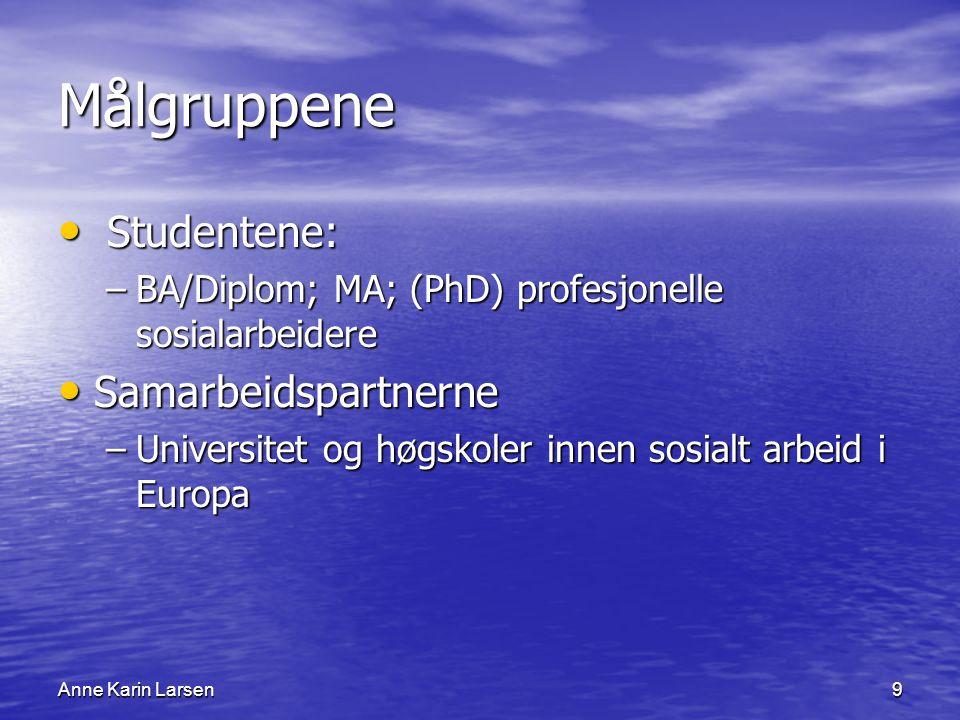Anne Karin Larsen9 Målgruppene Studentene: Studentene: –BA/Diplom; MA; (PhD) profesjonelle sosialarbeidere Samarbeidspartnerne Samarbeidspartnerne –Universitet og høgskoler innen sosialt arbeid i Europa