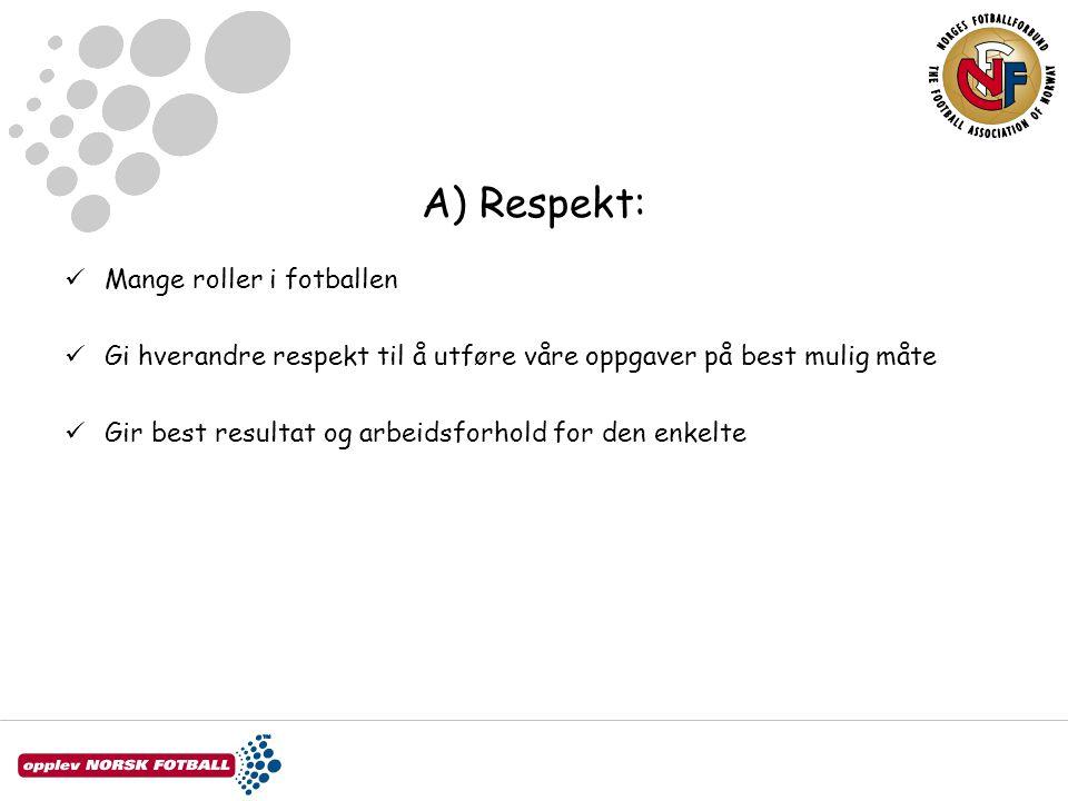 A) Respekt: Mange roller i fotballen Gi hverandre respekt til å utføre våre oppgaver på best mulig måte Gir best resultat og arbeidsforhold for den en