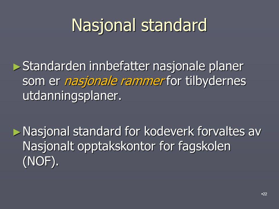 Nasjonal standard ► Standarden innbefatter nasjonale planer som er nasjonale rammer for tilbydernes utdanningsplaner. ► Nasjonal standard for kodeverk