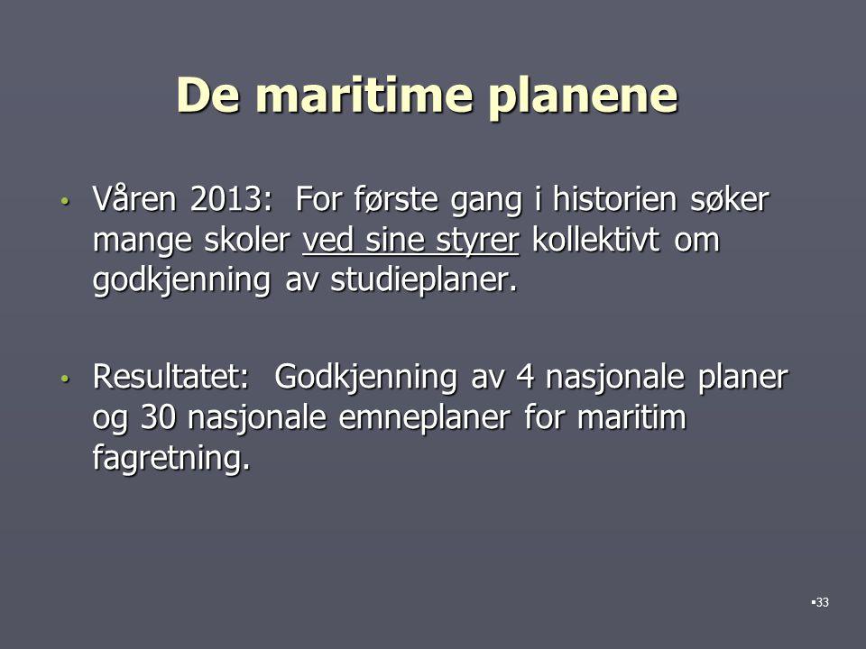 De maritime planene Våren 2013: For første gang i historien søker mange skoler ved sine styrer kollektivt om godkjenning av studieplaner. Våren 2013: