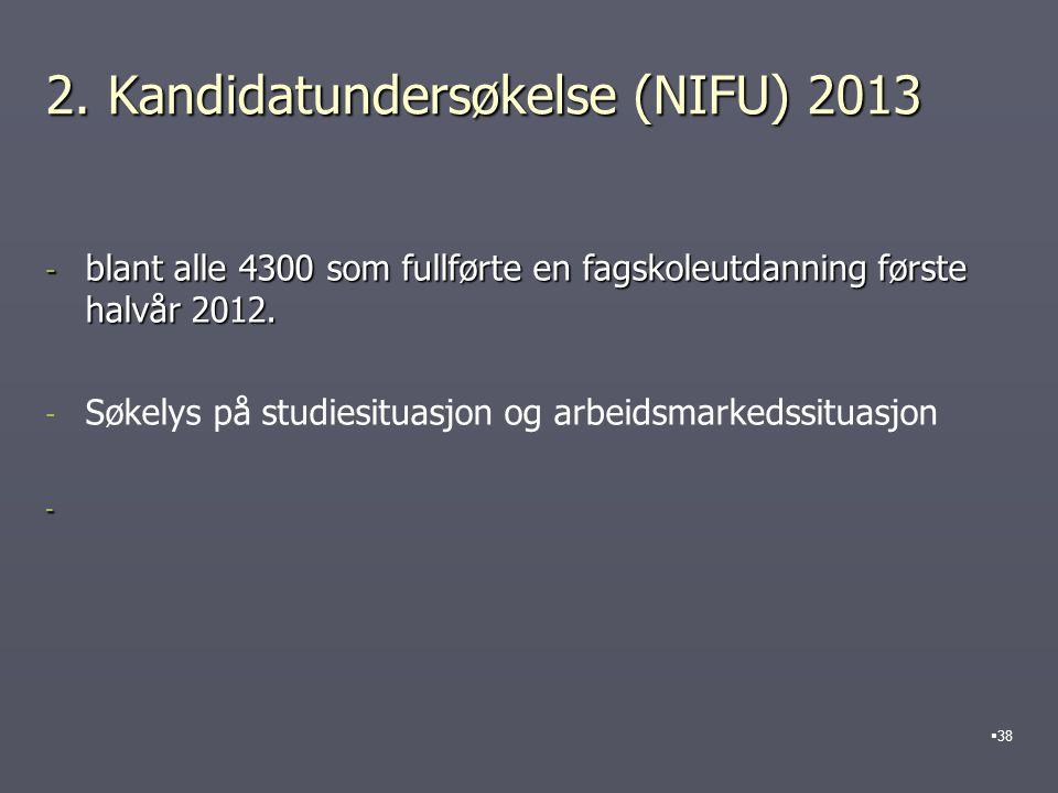 2. Kandidatundersøkelse (NIFU) 2013 - blant alle 4300 som fullførte en fagskoleutdanning første halvår 2012. - - Søkelys på studiesituasjon og arbeids