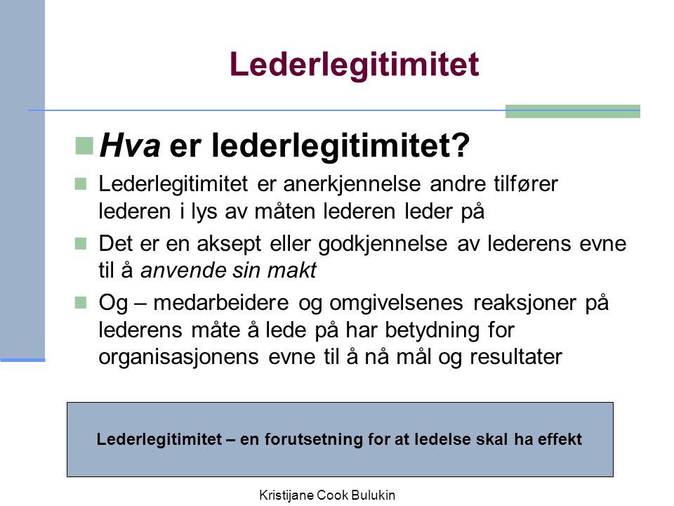 Lederlegitimitet Hva er lederlegitimitet? Lederlegitimitet er anerkjennelse andre tilfører lederen i lys av måten lederen leder på Det er en aksept el