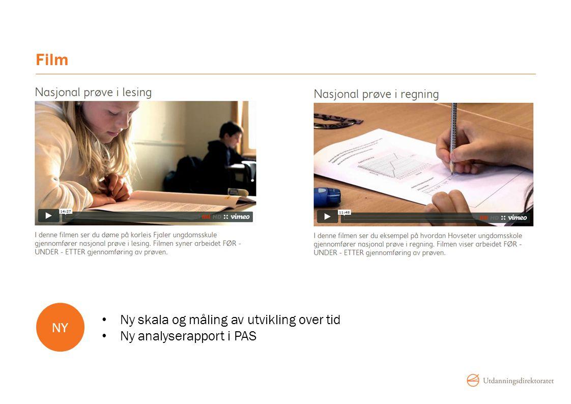 Film Ny skala og måling av utvikling over tid Ny analyserapport i PAS NY
