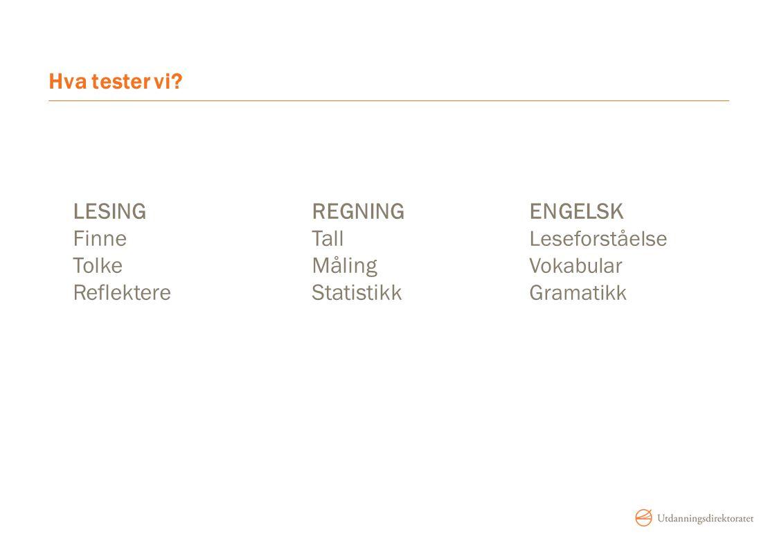 Hva tester vi? LESINGREGNINGENGELSK FinneTall Leseforståelse TolkeMåling Vokabular ReflektereStatistikk Gramatikk