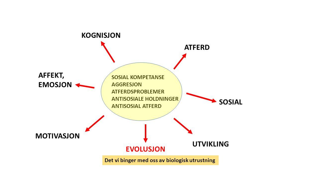 SOSIAL KOMPETANSE AGGRESJON ATFERDSPROBLEMER ANTISOSIALE HOLDNINGER ANTISOSIAL ATFERD ATFERD KOGNISJON SOSIAL AFFEKT, EMOSJON MOTIVASJON EVOLUSJON UTVIKLING Det vi binger med oss av biologisk utrustning