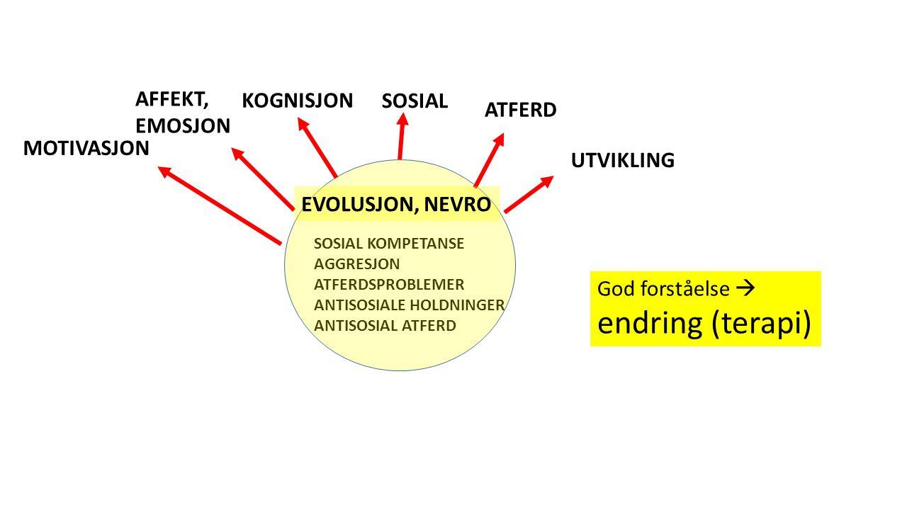SOSIAL KOMPETANSE AGGRESJON ATFERDSPROBLEMER ANTISOSIALE HOLDNINGER ANTISOSIAL ATFERD ATFERD KOGNISJON SOSIAL AFFEKT, EMOSJON MOTIVASJON EVOLUSJON, NEVRO UTVIKLING God forståelse  endring (terapi)