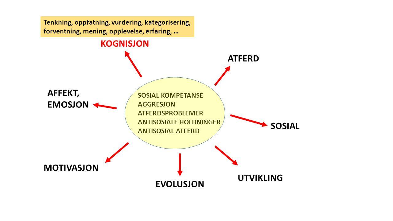 SOSIAL KOMPETANSE AGGRESJON ATFERDSPROBLEMER ANTISOSIALE HOLDNINGER ANTISOSIAL ATFERD ATFERD KOGNISJON SOSIAL AFFEKT, EMOSJON MOTIVASJON EVOLUSJON UTVIKLING Tenkning, oppfatning, vurdering, kategorisering, forventning, mening, opplevelse, erfaring, …