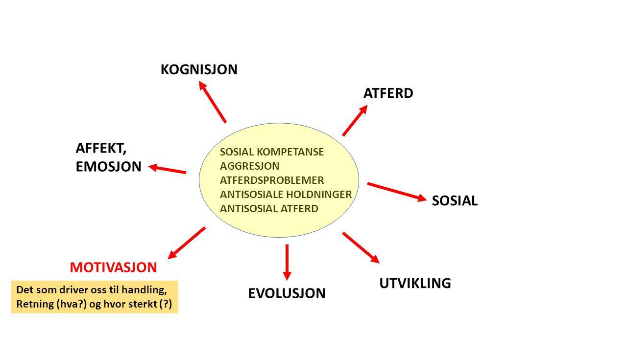 SOSIAL KOMPETANSE AGGRESJON ATFERDSPROBLEMER ANTISOSIALE HOLDNINGER ANTISOSIAL ATFERD ATFERD KOGNISJON SOSIAL AFFEKT, EMOSJON MOTIVASJON EVOLUSJON UTVIKLING Det som driver oss til handling, Retning (hva?) og hvor sterkt (?)