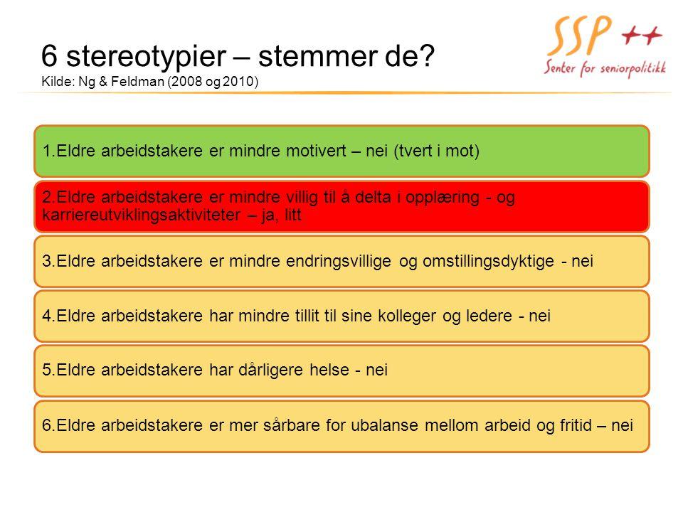 6 stereotypier – stemmer de? Kilde: Ng & Feldman (2008 og 2010)