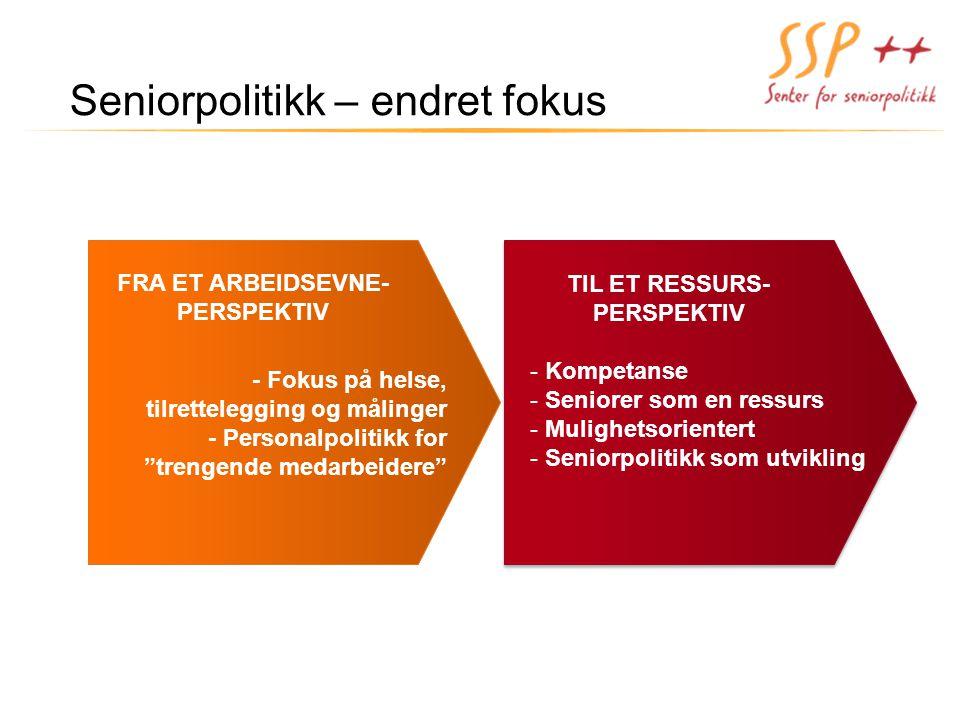 Seniorpolitikk – endret fokus FRA ET ARBEIDSEVNE- PERSPEKTIV TIL ET RESSURS- PERSPEKTIV TIL ET RESSURS- PERSPEKTIV - Kompetanse - Seniorer som en ress