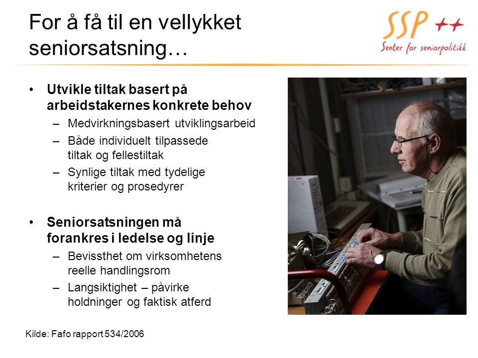 For å få til en vellykket seniorsatsning… Utvikle tiltak basert på arbeidstakernes konkrete behov –Medvirkningsbasert utviklingsarbeid –Både individue