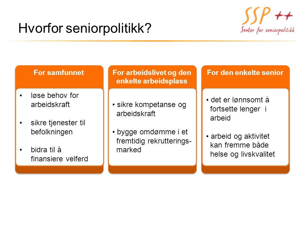 For arbeidslivet og den enkelte arbeidsplass For arbeidslivet og den enkelte arbeidsplass For den enkelte senior For samfunnet Hvorfor seniorpolitikk?
