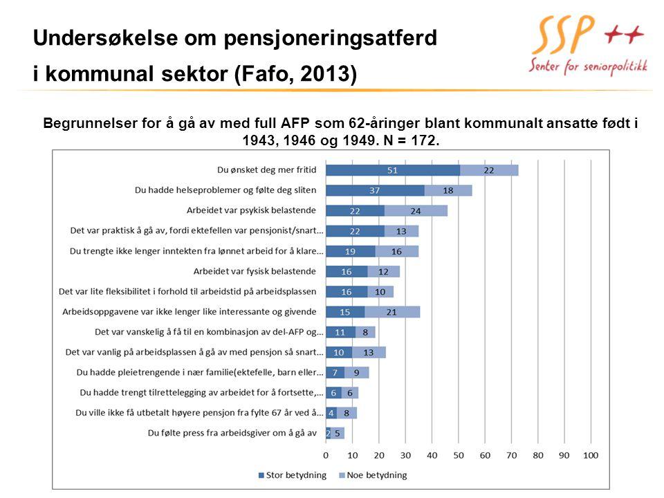 Undersøkelse om pensjoneringsatferd i kommunal sektor (Fafo, 2013) Begrunnelser for å gå av med full AFP som 62-åringer blant kommunalt ansatte født i