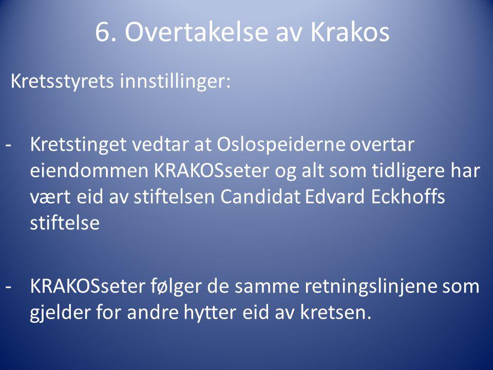 6. Overtakelse av Krakos Kretsstyrets innstillinger: -Kretstinget vedtar at Oslospeiderne overtar eiendommen KRAKOSseter og alt som tidligere har vært